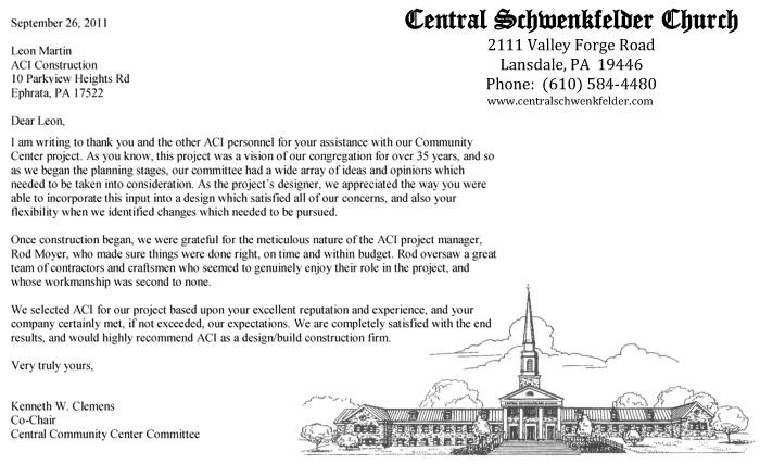 Central Schenkfelder Church, Recommendation Letter